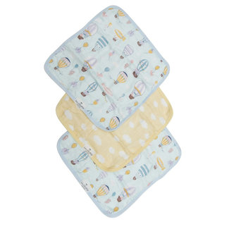 Loulou Lollipop Loulou Lollipop - Set of 3 Bamboo Muslin Washcloths, Up Up Away
