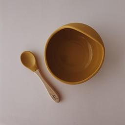 Pois et Moi Pois et Moi - Silicone Bowl and Spoon Set, Mustard