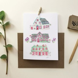 Katrinn Pelletier Illustration Katrinn Pelletier - Greeting Card, Rainbow Houses Flowers