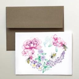 Katrinn Pelletier Illustration Katrinn Pelletier - Carte de Souhaits, Coeur Floral