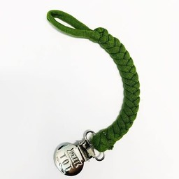 Petit Tot Petit Tot - Jersey Braided Pacifier Clip, Olive