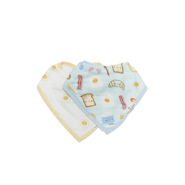 Loulou Lollipop Loulou Lollipop - Muslin Bib Set of Two, Breakfast Blue