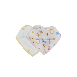 Loulou Lollipop Loulou Lollipop - Muslin Bib Set of Two, Breakfast Pink