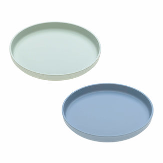 Lässig Lässig - Set of 2 Bamboo Plates for Baby, Mint/Blueberry