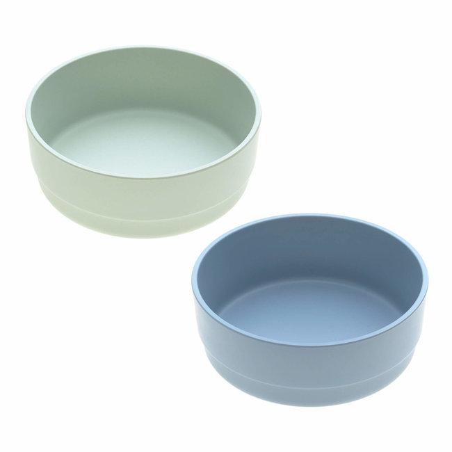Lässig Lässig - Set of 2 Bamboo Bowls for Baby, Mint/Blueberry