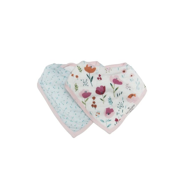 Loulou Lollipop Loulou Lollipop - Muslin Bib Set of Two, Rosey Bloom