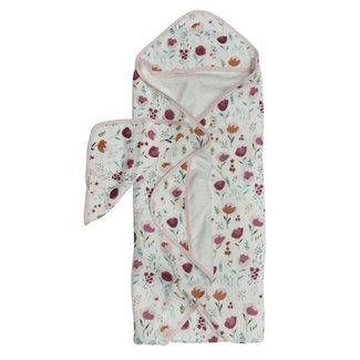 Loulou Lollipop Loulou Lollipop - Bamboo Muslin Hooded Towel and Washcloth Set, Rosey Bloom