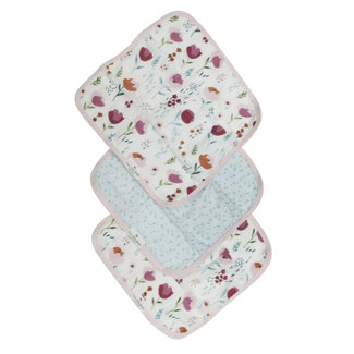 Loulou Lollipop Loulou Lollipop - Set of 3 Bamboo Muslin Washcloths, Rosey Bloom