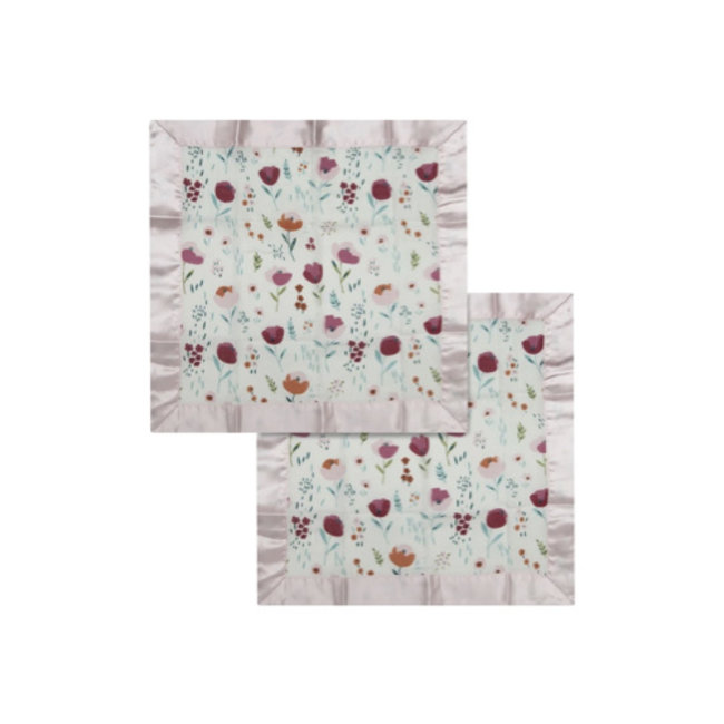 Loulou Lollipop Loulou Lollipop - Pack of 2 Security Blankets, Rosey Bloom