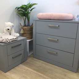 Natart Juvenile DEMO SALE - Nest Milano - 3 Drawer Dresser and Night Table, Elephant Grey