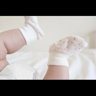 Bouton Jaune Bouton Jaune - Velvet Ratine Booties, Stella Coral, 0-3 Months