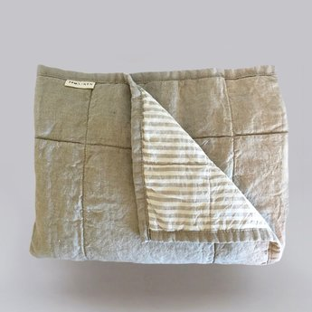 7PM Linen 7PM Linen - Linen Quilted Blanket and Playmat, Natural Stripe