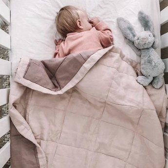 7PM Linen 7PM Linen - Linen Quilted Blanket and Playmat, Peony and Rosewood