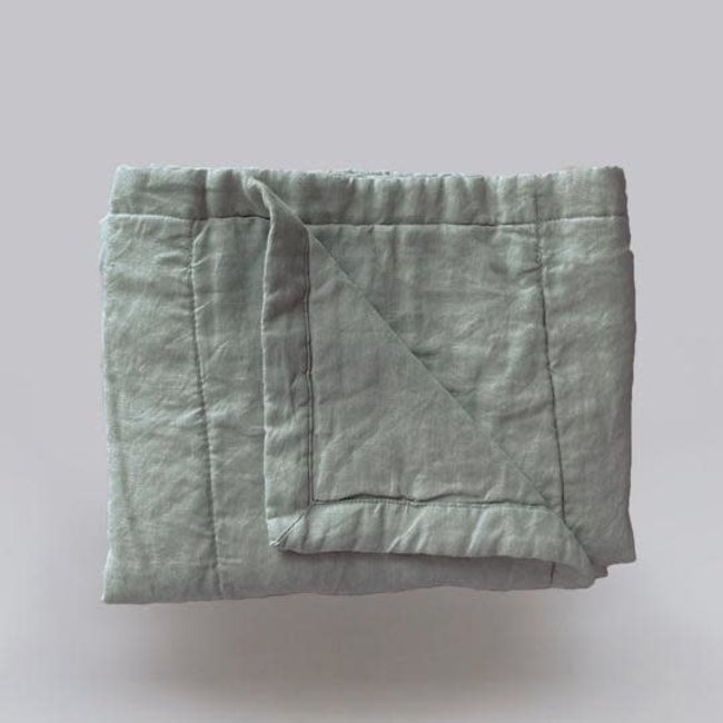 7PM Linen 7PM Linen - Linen Quilted Blanket and Playmat, Sage