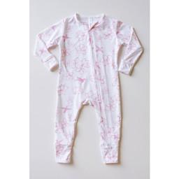 Bambi & Birdie Pajama Co. Bambi & Birdie - Pyjama à Pattes avec Glissière, Colibri Rose