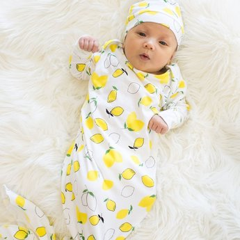 Bambi & Birdie Pajama Co. Bambi & Birdie - Baby Knotted Sleep Gown, Lemons