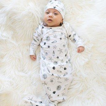 Bambi & Birdie Pajama Co. Bambi & Birdie - Baby Knotted Sleep Gown, Shells