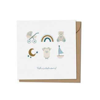Mimosa Design Mimosa Design - Greeting Card, Congratulations Boy, Exclusivity Charlotte et Charlie