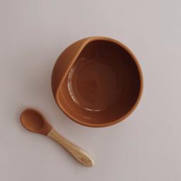 Pois et Moi Pois et Moi - Silicone Bowl and Spoon Set, Papaya