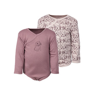 Fixoni Fixoni - Long Sleeves Bodysuit, Pattern Pink Bunny