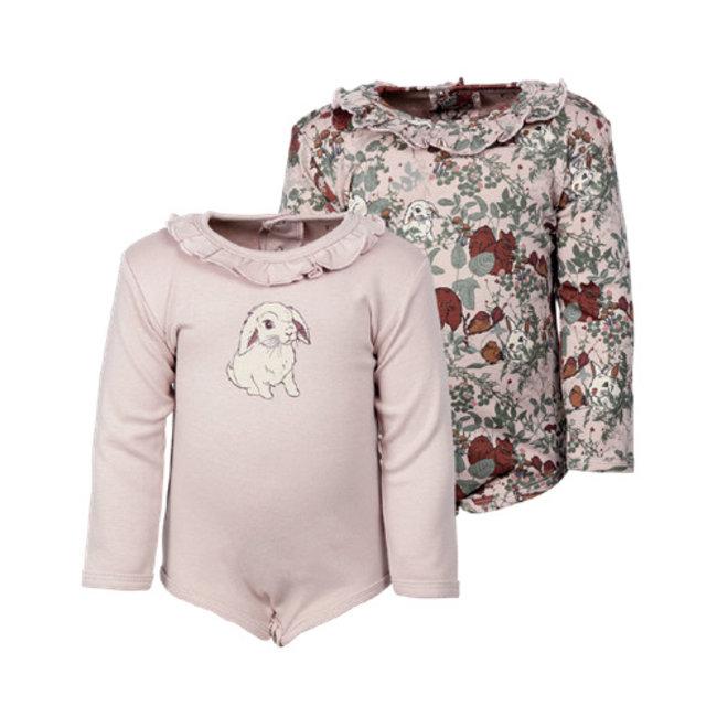 Fixoni Fixoni - Long Sleeves Bodysuit, Leaves Pink