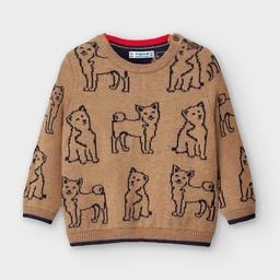 Mayoral Mayoral - Jacquard Dog Sweater, Almond