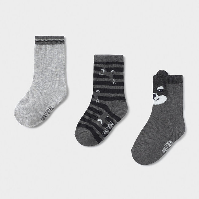 Mayoral Mayoral - Pack of 3 Pairs of Dog Socks, Cement