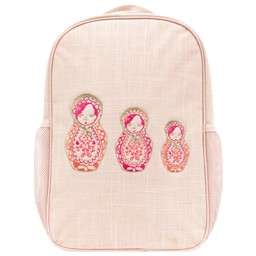 So Young So Young - Pink Linen Grade School Backpack, Embroidered Dolls