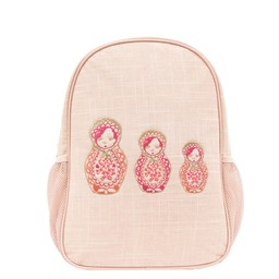 So Young So Young - Pink Linen Toddler Backpack, Embroidered Dolls