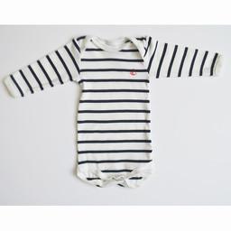 Petit Bateau Petit Bateau - Long Sleeves Romper, Big Black Stripes