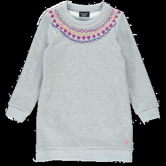Birdz Children & Co Birdz - Fleece Dress, Light Grey Embroidered
