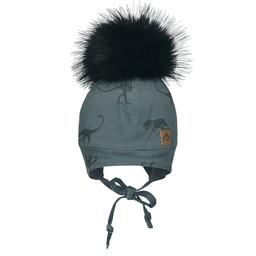 Perlimpinpin Perlimpinpin - Pompom Hat, Grey Dino