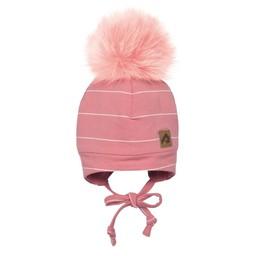 Perlimpinpin Perlimpinpin - Pompom Hat, Pink White Stripe