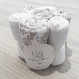 Bouton Jaune Bouton Jaune - Set of 7 Velvet Ratine Washclothes, Neutral Flowers