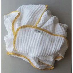 Sauge & Co Sauge & Co - Cotton Muslin Very Large White Blanket, Honey Lace