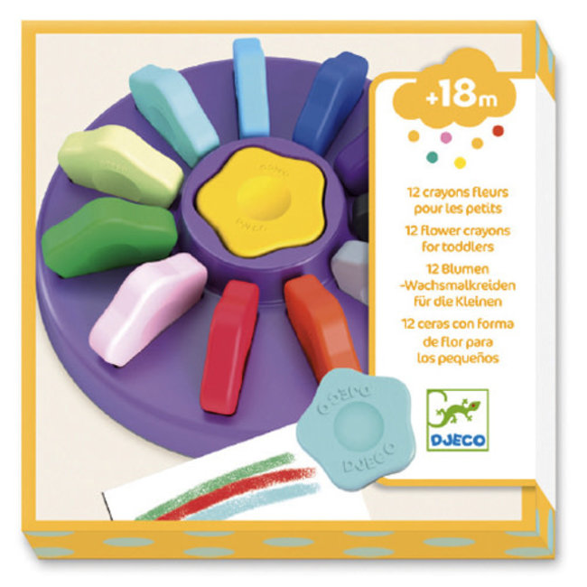 Djeco Djeco - Pack of 12 Flower Crayons