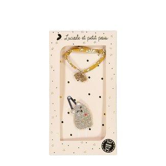 Luciole et petit pois Luciole et Petit Pois - Coffret Cadeau, Barrette et Bracelet, Chat Or
