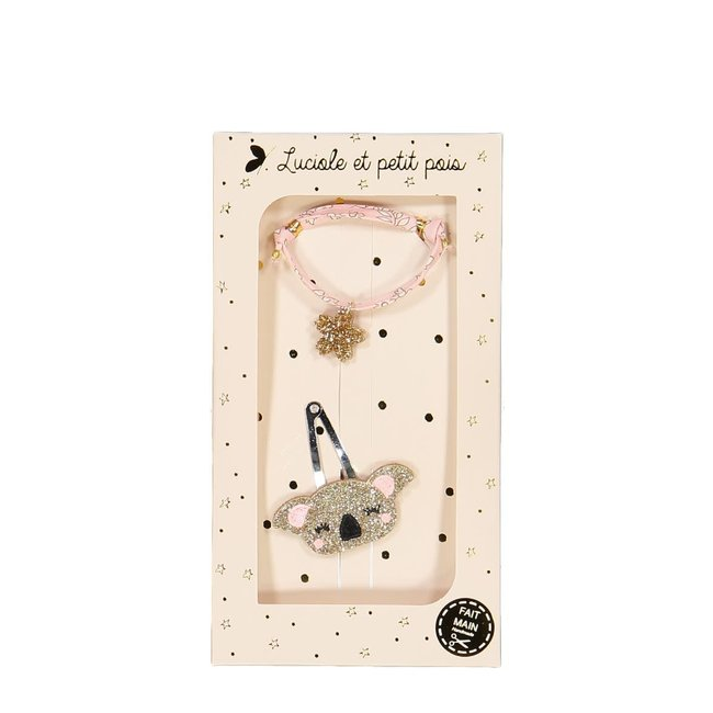 Luciole et petit pois Luciole et Petit Pois - Gift Box, Clip and Bracelet, Gold Koala