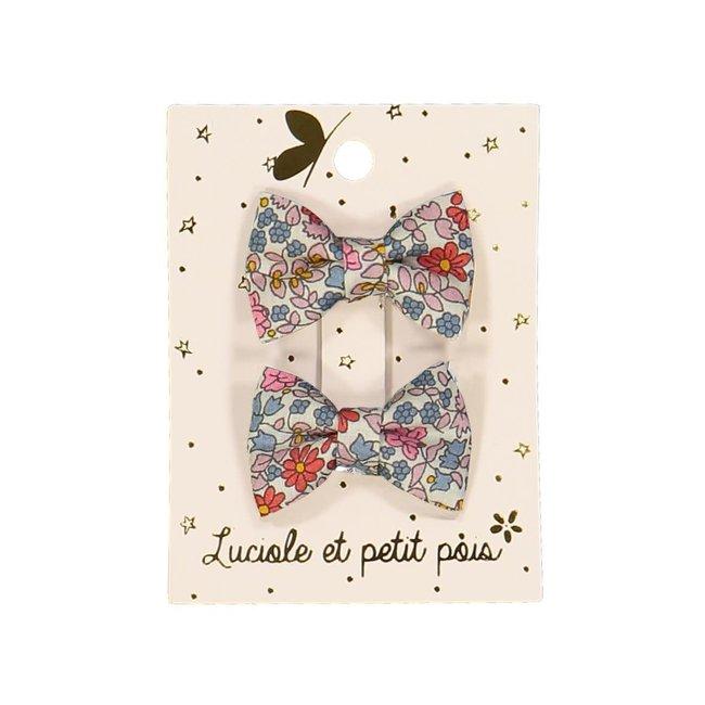 Luciole et petit pois Luciole et Petit Pois - Pack of 2 Mini Butterfly Hair Clips, Liberty Emilia Flowers
