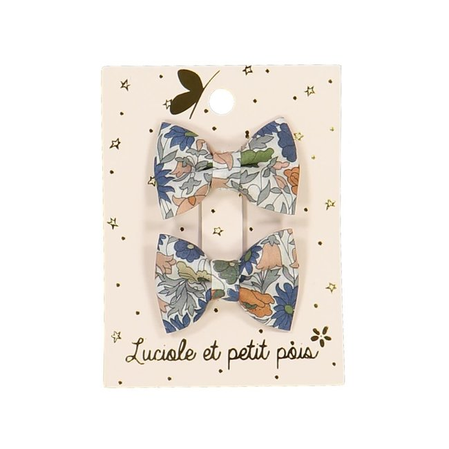 Luciole et petit pois Luciole et Petit Pois - Pack of 2 Mini Butterfly Hair Clips, Liberty Poppy Forest