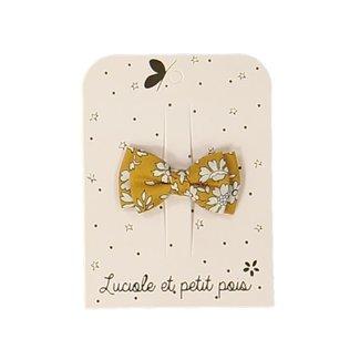 Luciole et petit pois Luciole et Petit Pois - Small Double Bow Hair Clip, Liberty Capel Mustard