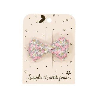 Luciole et petit pois Luciole et Petit Pois - Small Double Bow Hair Clip, Liberty Pink Paradise