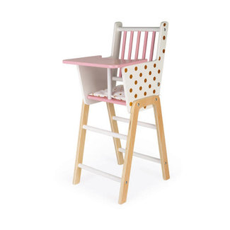 Janod Janod - Wooden High Chair for Doll, Candy Chic
