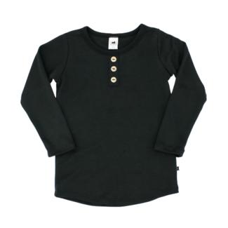 Little & Lively Little & Lively - Long Sleeve Henley Sweater, Black