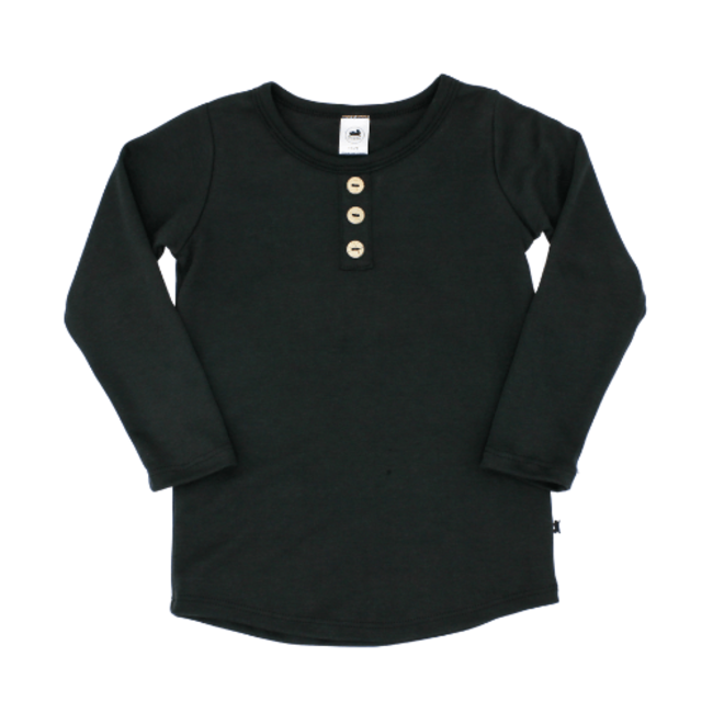 Little & Lively Little & Lively - Long Sleeve Henley Sweater, Black