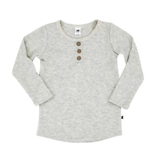 Little & Lively Little & Lively - Long Sleeve Henley Sweater, Ash
