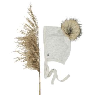 Little & Lively Little & Lively - Baby Brimless Pom Pom Bonnet, Ash