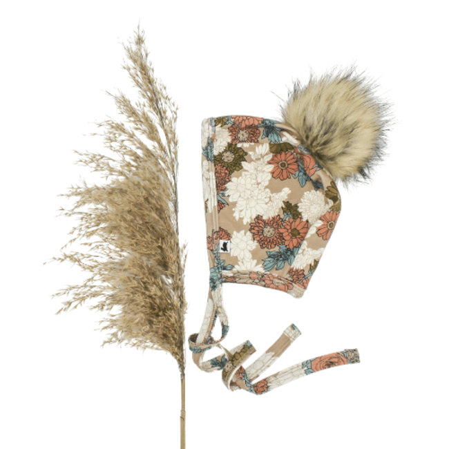 Little & Lively Little & Lively - Baby Brimless Pom Pom Bonnet, Wildflower