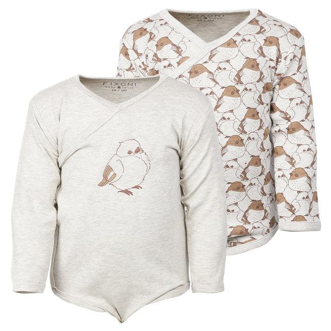 Fixoni Fixoni - Long Sleeves Bodysuit, Pattern Grey Bird
