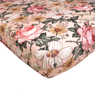 The Mini Scout The Mini Scout - Cotton Crib Sheet, Garden Floral Rose Pink